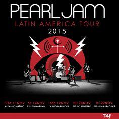 """O Pearl Jam vem para o Brasil neste fim de ano, com 5 shows que serão em novembro e têm início no dia 11 em Porto Alegre, no Arena do Grêmio,  No dia 14 em São Paulo no Morumbi, no dia 17 em Brasília no Estádio Mané Garrincha, no dia 20 em Belo Horizonte no Mineirão, e por ultimo no rio de janeiro no Maracanã. Também em novembro vão passar pelo Chile e México. A banda está em turnê do álbum """"Lightning bolt"""".  blog enrico picciotto é rock in roll"""
