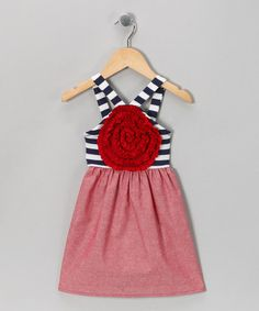 Take a look at this Red & Navy Blooming Rose Dress - Toddler & Girls by Freckles + Kitty on #zulily today!