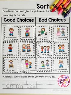 Back to School - Good Choices and Bad Choices Sort