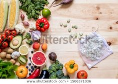 Stock Photo: Modern composition of fresh healthy vegetables and fruits on the wooden table in the kitchen. Healthy detox and balance diet. Healthy Detox, Healthy Vegetables, Balanced Diet, Wooden Tables, Top View, Zero Waste, Decoration, Vegan Vegetarian, Composition