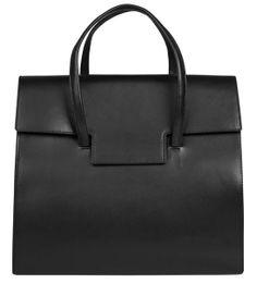 Maison Martin Margiela Black Fold-Over Leather Tote Bag