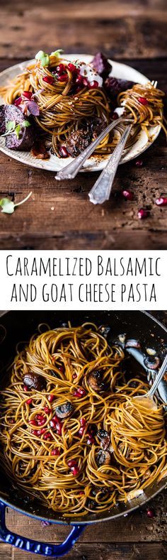 Caramelized Balsamic and Goat Cheese Pasta. I think my Dad would like this so going to try with gluten-free pasta. Pasta Recipes, Dinner Recipes, Cooking Recipes, Salad Recipes, Goat Cheese Pasta, Baked Goat Cheese, Cheese Salad, Vegetarian Recipes, Healthy Recipes