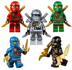 LEGO Ninjago Ninja's set of 5 - Lloyd, Cole, Jay, Kai, Zane Zukin Robes minifigures Lego Ninjago Minifiguren, Ninjago Party, Lego Birthday Party, Ninjago Cakes, Power Rangers, Legos, Lego Penguin, Bolo Lego, Lego Kai