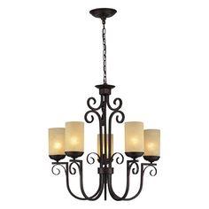 Avondale Aged Bronze Five Light Chandelier