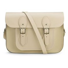 The Cambridge Satchel Company Women's 11 Inch Satchel - Cream Crocus (£125) ❤ liked on Polyvore featuring bags, handbags, real leather handbags, brown leather handbag, brown satchel handbag, brown purse and satchel handbags