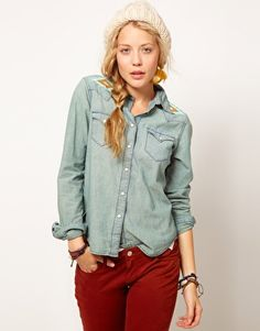 Denim & Supply By Ralph Lauren Denim Shirt With Beading--love the embroidery/beading!
