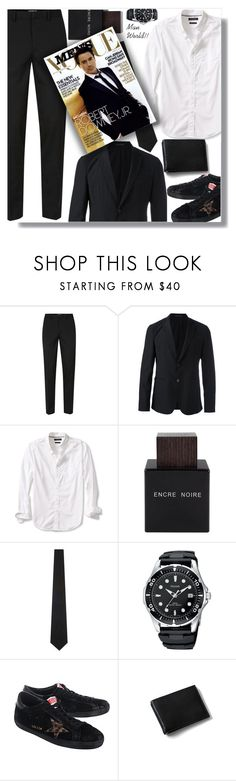 """Man World!!"" by sarahguo ❤ liked on Polyvore featuring Topman, Emporio Armani, Banana Republic, Lalique, The Kooples, Golden Goose, Lands' End, men's fashion and menswear"