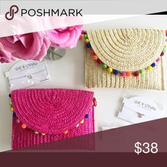 Hot Pink straw Pom Pom clutch Hot Pink straw Pom Pom clutch Size: 12x9 and strap 24L Bags Clutches & Wristlets