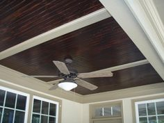 ceiling fan beautify your home using beadboard ceiling from Stained Beadboard Porch Ceiling Beadboard Ceiling Panels, Vinyl Beadboard, Wainscoting, Best Ceiling Paint, Painted Wood Ceiling, Painted Beams, Wood Beams, Porch Ceiling, Outdoor Ceiling Lights