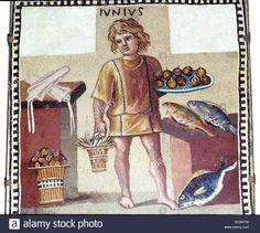 Roman, fish and food, Hermitage Museum, Roman kitchen slave servant, Pompeii Roman mosaic Copyright: CM Dixon/AAAC Ltd Stock Photo
