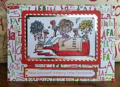 Wine time Christmas card, digi stamp by bugaboo stamps