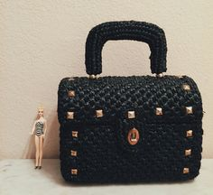 Vintage Black Woven Handbag from the late 60s by BarbeeVintage