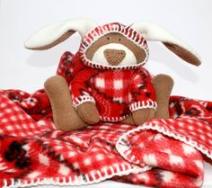 Bandanna Bunny Baby Blanket security blanket by TwistedKnickersInc