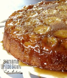 Banana Upside Down Cake. Brown sugar and bananas caramelize on top of this super moist banana cake making it gooey and deliciously sweet!