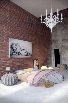 briques de parement chambre coucher loft