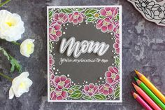 Mom's card: pencils on dark cardstock