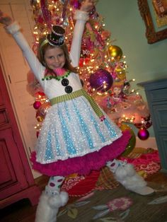 Girls Snowman Halloween Costume, Size 5-8, Available for immediate shipment. $135.00, via Etsy.