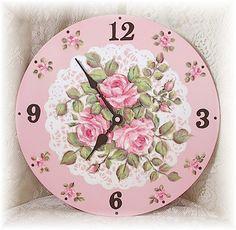 shabby cottage rose clock...<3