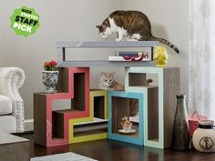 The world's only modular cat scratcher system, now features new stylistic covers to enhance your home and please your cat.