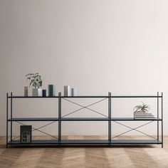 A shelving system constructed from perforated metal sheets and a set of stackable wooden chairs feature in Ferm Living& Spring Summer 2016 collection Furniture Design, Living Furniture, Furniture Collection, Interior Furniture, Metal Furniture Design, Minimalist Shelves, Bedroom Redesign, Shelving, Ferm Living