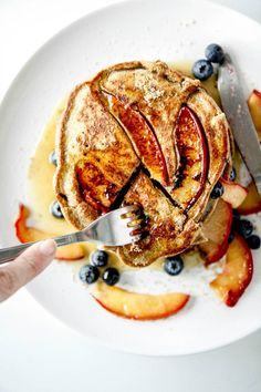 Pluot & Brown Sugar Buckwheat Pancakes • Fork in the Road