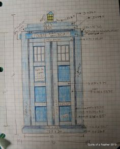 Quilts of a Feather: TARDIS Quilt design - with fabric requirements, block measurements, etc. Quilting Tutorials, Quilting Projects, Quilting Designs, Sewing Projects, Quilt Design, Quilting Ideas, Sewing Ideas, Quilting Templates, Tardis Quilt Pattern