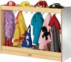 The Jonti Craft Large Dress Up Island is a perfect solution to invite children to dress up as a police officer or teacher. The ten double coat hooks will help with role play costumes or coats.  Great addition to daycares, preschools and more. #dramaticplay http://www.sensoryedge.com/dress-up-island-large.html