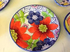 Damariscotta Pottery plate painted by Amy Pottery Plates, Ceramic Plates, Ceramic Pottery, Pottery Art, Decorative Plates, Small Plates, Pottery Painting, Ceramic Painting, Ceramic Art