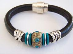 Regaliz Black Leather Bracelet with by Joannsfortheluvofit on Etsy Black Leather Bracelet, Leather Bracelets, Leather Jewelry, Bracelets For Men, Jewelry Bracelets, Handmade Beaded Jewelry, Handmade Bracelets, Handcrafted Jewelry, Bracelet Making
