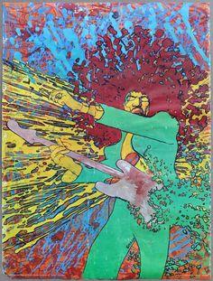 Jimi Hendrix Martin Sharp Explosion Vintage Original Poster 1973