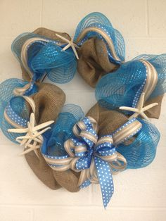 Burlap and starfish wreath