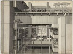 A presentation drawing of Art + Architecture Building by Paul Rudolph. Art and Architecture Building, Yale University, New Haven, Connecticut, Partial exterior perspective. From MoMA collection. Architecture Drawings, Art And Architecture, Architecture Graphics, Paul Rudolph, Bungalow Exterior, Cafe Exterior, Ranch Exterior, Exterior Shutters, Exterior Remodel