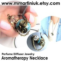 Tiny Aromatherapy Necklace Essential Oil Diffuser par mmartiniuk, $40.00
