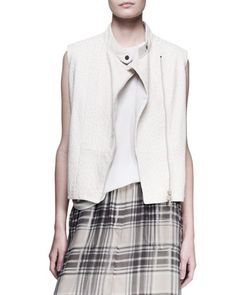 Ostrich Seamed Biker Vest by Brunello Cucinelli at Bergdorf Goodman.