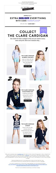 J Crew Factory // Promo Banner + 3 Ways to Wear Newsletter Layout, Email Newsletter Design, Email Design Inspiration, Style Inspiration, Wireframe, Layout Design, Cool Outfits, Fashion Outfits, Fashion Clothes