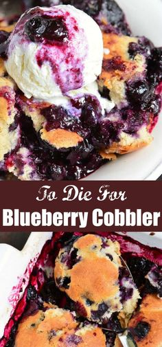 Blueberry Cobbler is a wonderful, warm and comforting summer dessert recipe that is full of fresh berries and sweet, cake-like topping. Desserts Blueberry Cobbler - Sweet Juicy Blueberry Filling and Soft Cakey Topping Blueberry Cobbler Recipes, Blueberry Topping, Blueberry Desserts, Köstliche Desserts, Desserts With Blueberries, Blueberry Cobbler Bisquick, Blueberry Cobler, Fruit Cobbler, Blueberry Bread
