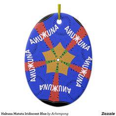 #Hakuna #Matata #Iridiscent #Blue #Ceramic #Oval #Decoration