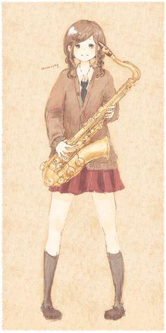 2013.09 Tenor sax Girl *. Anime Music, Anime Art, Character Art, Character Design, Tenor Sax, Anime Monsters, Music Illustration, Brass Band, Online Anime