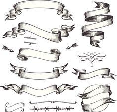 Old-Fashioned Banner | Banners Set Hand Drawn illustration Рисунки Татуировок, Татуировки Со Свитками, Рисунок Для Татуировки, Розовый Эскиз, Каллиграфические Шрифты, Клоунские Татуировки, Декоративные Шрифты