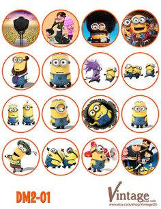 Despicable me Minion Birthday party Cupcake Toppers Images 2 inch digital file… Minion Theme, Minion Birthday, Mickey Birthday, Birthday Stuff, Despicable Me Party, Despicable Minions, Minion Party, Image Minions, Boy Printable