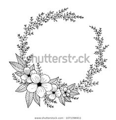 Pencil Drawings Of Flowers, Art Drawings Sketches Simple, Hand Embroidery Patterns Flowers, Embroidery Art, Simple Flower Design, Quill And Ink, Bullet Journal Lettering Ideas, Illustration Blume, Wreath Drawing