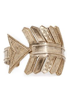 Antiqued Arrow Cuff in Yellow Gold by House of Harlow 1960
