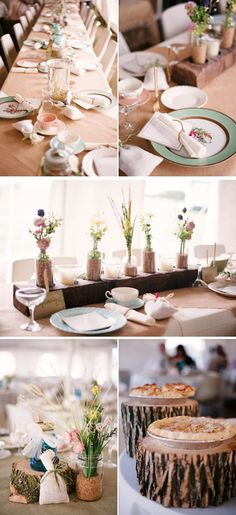 Love the cute rustic details on this wedding. Also, pie > cake. Always.