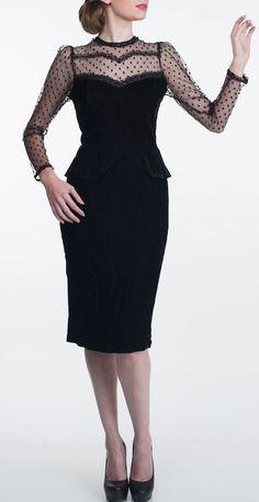 Vintage polka dot peplum dress / Gunne Sax