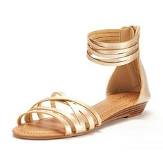 36df15bed51125 DREAM PAIRS Women s JUULY 01 Gold Fashion Ankle Strap Flat Sandals Size 9 M  US