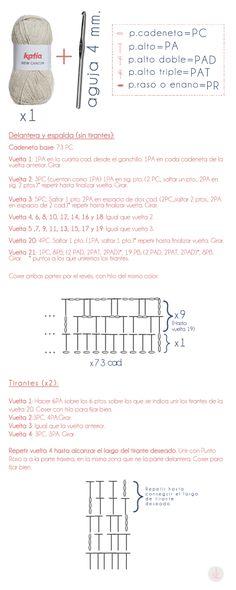 Patrón de CROP TOP hecho a ganchillo (crochet)