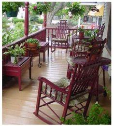 Muebles en tonos rojos intensos para #decorarbalcones