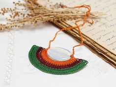Crochet Pendant Necklace in Green Burgundy Orange by PinaraDesign, $32.00