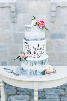 A Fairytale Wedding Inspiration at the Lionheart Chateau - A PRINCESS INSPIRED BLOG | Handlettering on a Wedding Cake #calligraphyonweddingcake #marbleweddingcake #modernweddingcakes #floralweddingcake #quoteonweddingcake #castleweddings Wedding Cake Designs, Wedding Cake Toppers, Princess Wedding Cakes, Fairytale Weddings, Wedding Calligraphy, Beautiful Wedding Cakes, Wedding Inspiration, Wedding Ideas, Inspired