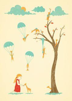 Invasion of the Tiny Giraffes Art Print